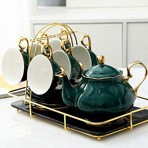 Set Kaffeetasse Keramik Kaffeetasse Set, 6-Unzen (etwa 200 ml) Tasse und Untertasse 6-teiliges Set, mit Kaffee-Topf Zucker Sahne Schüssel Topf und Fach, Löffel und Kaffeetasse-Halter, Geeignet for Kaf