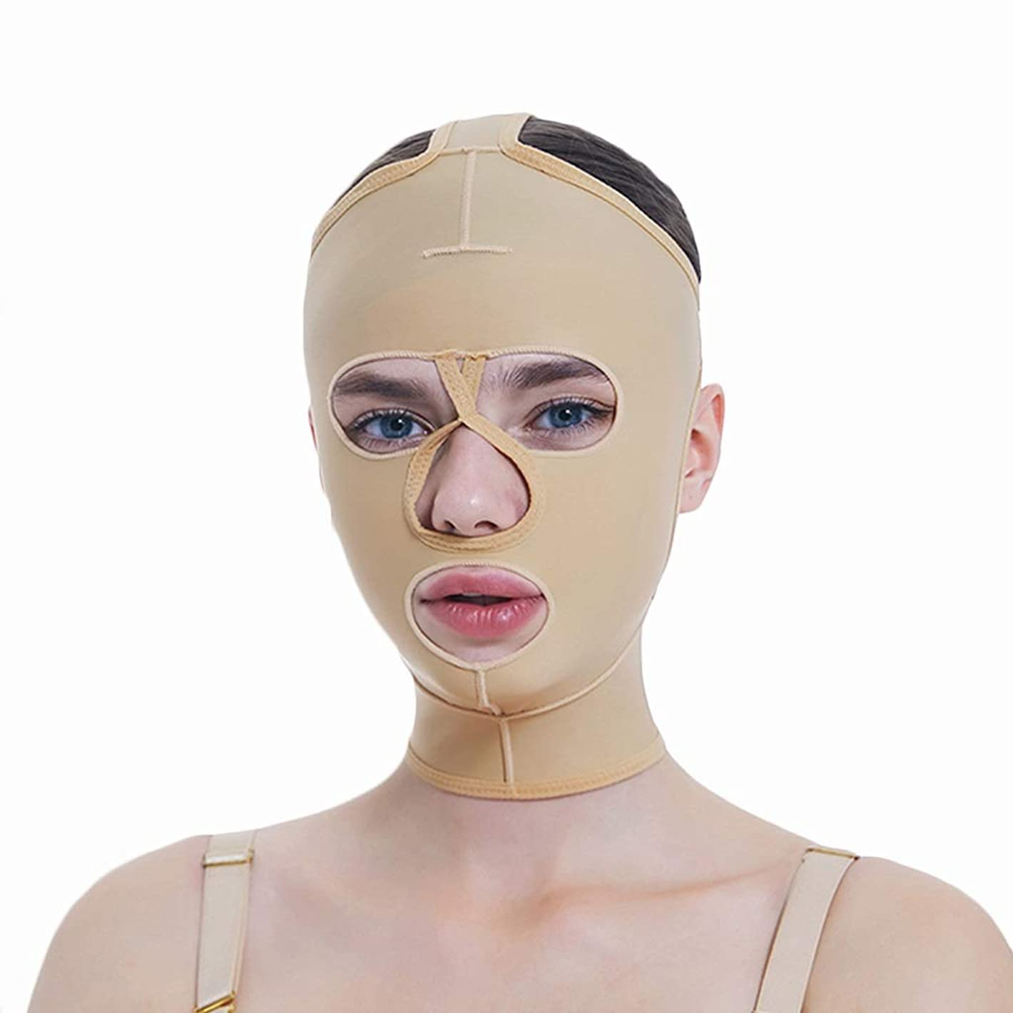 鎮痛剤毛細血管昼寝フェイシャル減量マスク、フルカバレッジ包帯、フルフェイスリフティングマスク、フェイスマスク、快適で リフティングシェーピング(サイズ:S),XXL