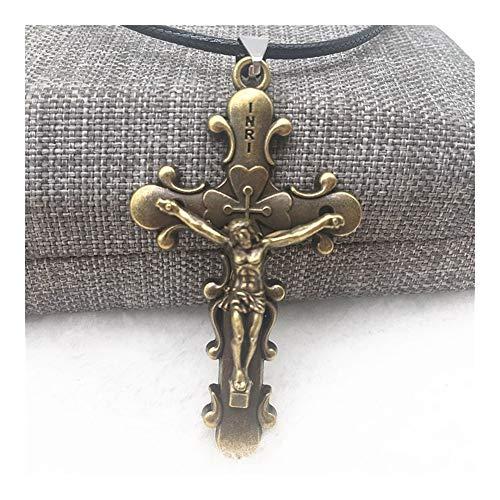 FKJSP Los Hombres Joyas de Moda gunblack/Plateado Bronce de Letras Iniciales del Collar Tallado Colgante de Acero de Titanio imitación gótica Jesús Cruz Collar (Metal Color : 2)