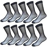 Cityelf 3 Paare Dünne Socken Seide Schier Socken anziehen Mitte der Wade Seidensocken Arbeitssocken für Herren (B, Einheitsgröße)
