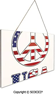 UHOO Gift Wooden Hanging Plaque Sign Modern Peace Sign USA Flag Color Design Hippie Freedom No War Symbol T Wood Tag Hanging Ornament Decoration Home Tag Decoration 9.8