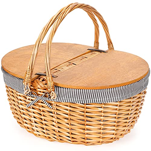 Wicker Picnic Basket with Liner, Wooden Split Lid Picnic Basket, Vintage-Style Picnic Hamper with Folding Woven Handle for Picnic, Camping, Outdoor, Valentine Day, Thanks Giving, Birthday (Grey)