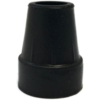 "Harvy 1"" Heavy Duty Black Rubber Replacement Cane Tip. (2 Pack)"