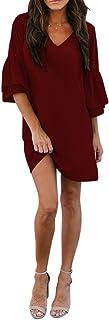 Women's Dress Sweet & Cute V-Neck Bell Sleeve Shift Dress...