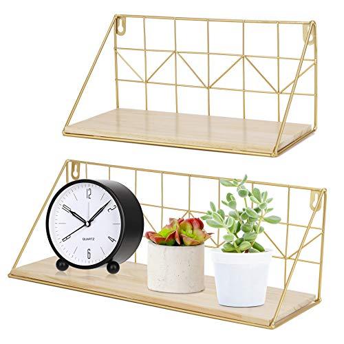Wandregale Schweberegal, Wand Hängeregal aus Metall und Holz, 2er Set, Küchenregale Badregale Gewürzständer, ideal für Schlafzimmer Wohnzimmer Küche Bad Büro, Goldenfarben