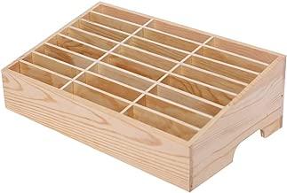 Ozzptuu 24-Grid Wooden Cell Phone Holder Desktop Organizer Storage Box for Classroom Office