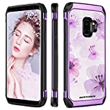 BENTOBEN Galaxy S9 Case, Samsung S9 Case, 2 in 1 Slim Hybrid Soft Rubber Bumper Hard PC Cover Flower Pattern Design Shockproof Non-Slip Rugged Protective Phone Case for Samsung Galaxy S9, Purple