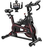 Exercise Bike, DMASUN Indoor Cycling Bike Stationary, Comfortable Seat Cushion, Multi - grips Handlebar, Heavy Flywheel Upgraded Version (Black) by DMASUN