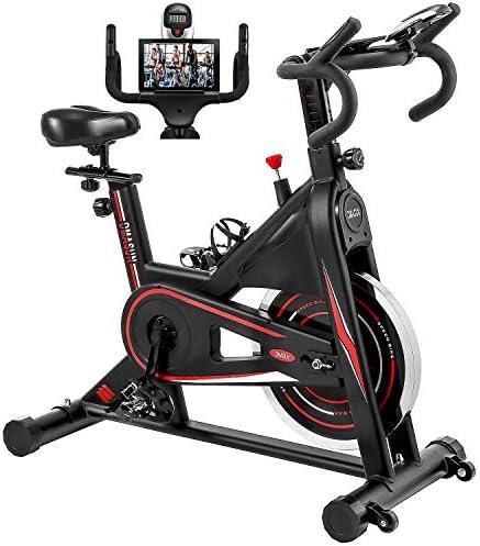 Exercise Bike, DMASUN Indoor Cycling Bike Stationary, Comfortable Seat Cushion, Multi – grips Handlebar, Heavy Flywheel Upgraded Version (Black)
