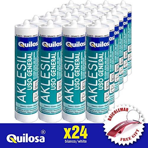 Silicona Quilosa Blanca 24 Unidades (280ml) + Llavero Regalo Bricolemar Gratis!
