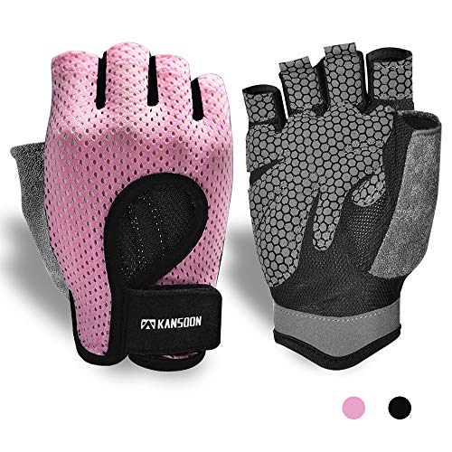 Workout Gloves, Knuckle Weight Lifting Shorty Fingerless Gloves with Curved Open Back, for Powerlifting, Gym, Crossfit, Women and Men (Pink, Large)