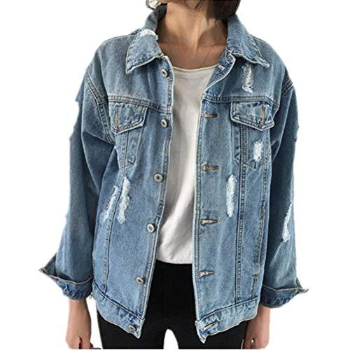 Minetom Donne Ricamo Moda Denim Giacca Manica Lunga Cappotto Casuale Capispalla Classico Giacche in Jeans Washed Tasche C Blu 42