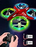 Dwi Dowellin Mini Drone for Kids Crash Proof LED Night Lights One Key Take Off Landing Flips RC Remote Control Small Flying Toys Drones for Beginners Boys and Girls Adults Nano Quadcopter, Red