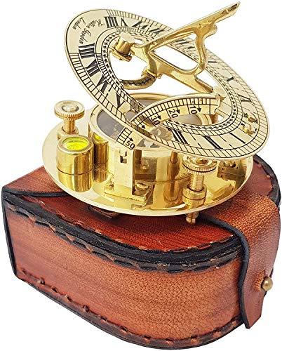 Ganga Nautical Sonnenuhr-Kompass mit aufwendigen Details in exquisiter Hülle aus genarbtem Leder – Premium-Sonnenuhr-Kompass