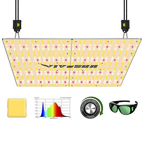 VIVOSUN Latest VS4000 LED Grow Light with Samsung LM301H Diodes & Brand Driver Dimmable Lights Sunlike Full Spectrum with Grow Room Glasses for Indoor Plants Seeding Veg and Bloom Plant Growing Lamps