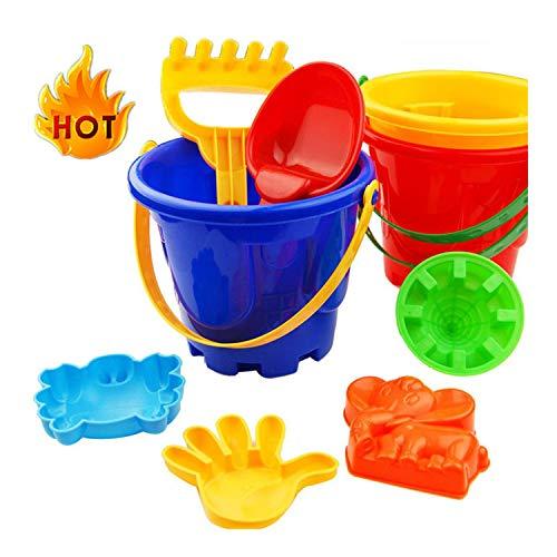 Sandspielzeug Strand Spielzeug Set 7 Stück Pädagogisch Wertvoll Eimer Kunststoff Strandspielzeug für Kinder Sommer Buddelkasten Garten Sandkasten mit Wasserwerkzeugen (7 Stück, Wie gezeigt)