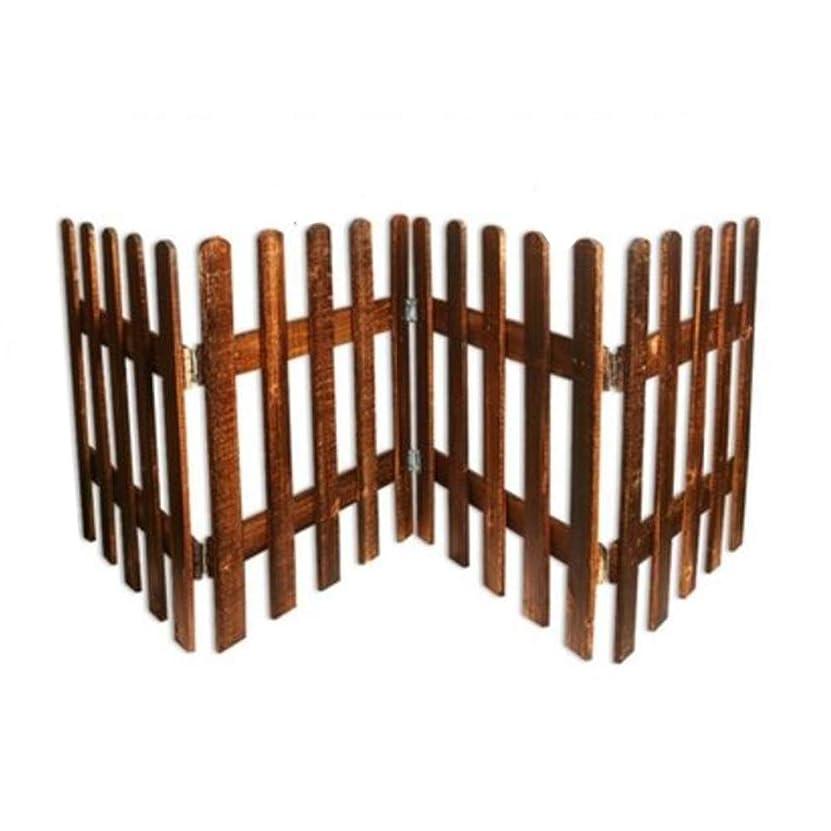 YYFANG 木製フェンスフラワーベッドエッジデコレーションヒンジ接続折りたたみ式高温炭化分離スペース、4サイズ (Color : Brown, Size : 200x50cm)