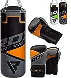 RDX Kinder Boxsack Set 2FT Gefüllt Kickboxen MMA Kampfsport Muay Thai Boxen mit Kette Training Handschuhe Kampfsport Schwer Junior Punching Bag...