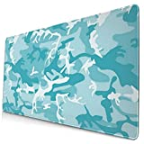 Mouse Pad Turquoise Light Blue Camo Camouflage Gaming Mouse Pad,Mouse Pad for Women,Extended Mouse Pad,Keyboard Mouse Pad,Mouse Pad Non-Slip 35.5