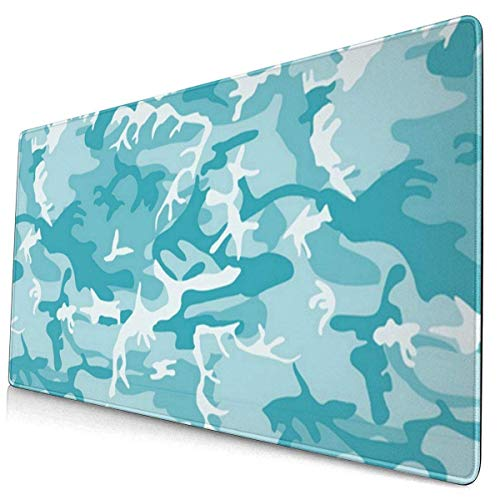 Mouse Pad Turquoise Light Blue Camo Camouflage Gaming Mouse Pad,Mouse Pad for Women,Extended Mouse Pad,Keyboard Mouse Pad,Mouse Pad Non-Slip 35.5'x15.7'
