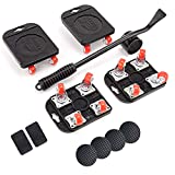 JHCHU 4 Wheels Moving Dolly with Casters, Furniture Dolly Set with Lifter, Movers Dolly for Heavy Furniture in Home, Office or Warehouses - 660lbs Load Capacity Safe Dolly with Hook