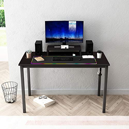 sogesfurniture Scrivania per Computer da Gioco, Tavolo da Gioco PC Game, Ergonomic Gaming Desk con Il Mouse Pad, Nero BHEU-AC14CB-Pro