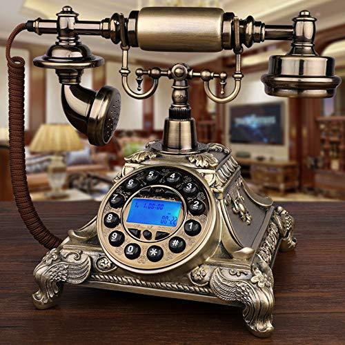 KQJH Bronce Estilo Europeo Antiguo Teléfono, Teléfono Vintage con Cable, Teléfono de Sobremesa, con Pantalla de identificación de Llamadas FSK y DTMF, para el Hogar/Hotel/Oficina