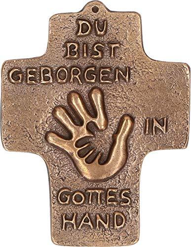 Butzon & Bercker Kommunion Kreuz Geborgen in Gottes Hand Bronze 10 cm Erstkommunion