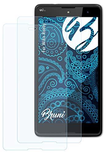 Bruni Schutzfolie kompatibel mit Wiko Robby Folie, glasklare Bildschirmschutzfolie (2X)