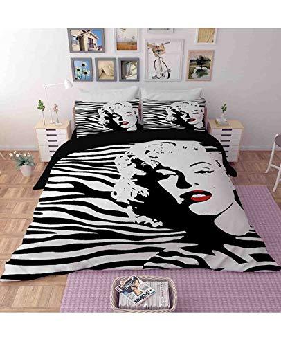 WLL Juego De 3 Piezas De Ropa De Cama con Tema De Mujer Sexy, Funda Nórdica para Niños/Adolescentes/Adultos, Funda De Edredón Impresa Marilyn Monroe (Color : B, Size : 140×200cm)