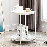 Artechworks Metal Coffee <span class='highlight'>Table</span> End <span class='highlight'>Table</span> Round Sofa Side <span class='highlight'>Table</span> 2-Tier Detachable Trays Modern Style Decor Nightstand <span class='highlight'>Bedside</span> <span class='highlight'>Table</span> for Living Room,Bedroom,Office,White(Φ44.5*H53cm)