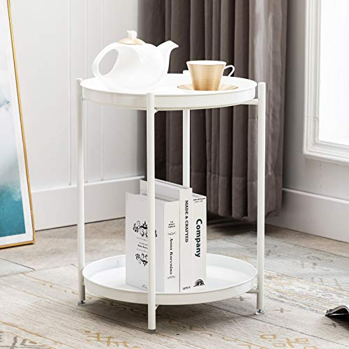 Artechworks Metal Coffee Table End Table Round Sofa Side Table 2-Tier Detachable Trays Modern Style Decor Nightstand Bedside Table for Living Room,Bedroom,Office,White(Φ44.5*H53cm)