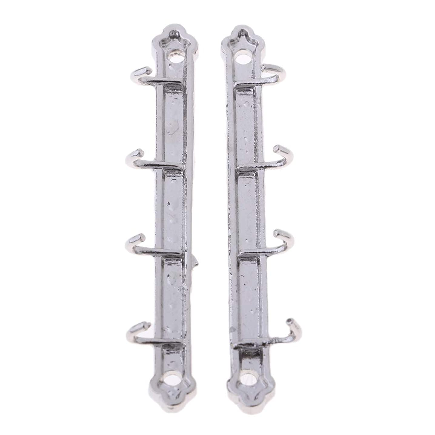 Fenteer 1/12 Dollhouse Furniture Bathroom Mini Clothes Hook Rack Alloy Wall Hanger for Dolls House Micro Landscape 4pcs Silver
