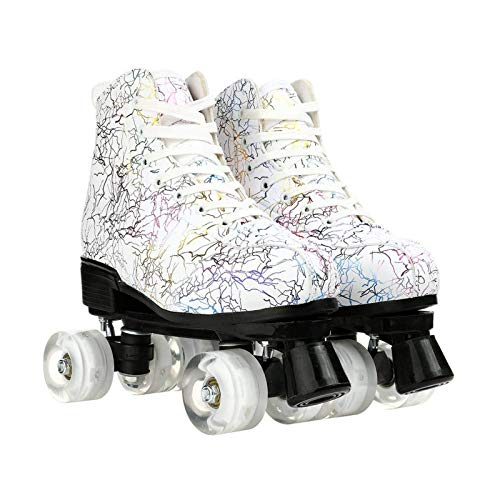 litulituhallo Womens Roller Skates Graffiti High Top Double Row Adjustable with Flashing White Transparent Size 38