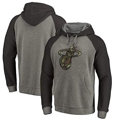 ZSPSHOP Sudadera con capucha de la NBA, Miami Heat Fans Jersey con capucha y letras impresas (color: gris 1, tamaño: XL)
