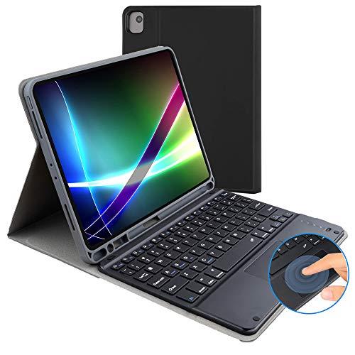 iPad 10.2 8th Gen (2020) / 7th (2019) Tastatur-Hülle, mit britischem Bluetooth-Tastatur-Layout, mit Fronthalterung und abnehmbarer magnetischer Touchpad-Maus, geeignet für iPad 10,2 Zoll