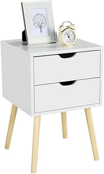 Topeakmart End Tables Nightstand With 2 Storage Drawers Coffee Table For Small Spaces For Living Room Bedroom