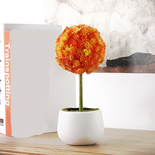 GSYLOL 1 Unidades Planta Artificial En Maceta Flor Bola Gigante Allium Bonsai Flor Para La Boda Home Party Decoration   4 Colores Decorativos, Naranja
