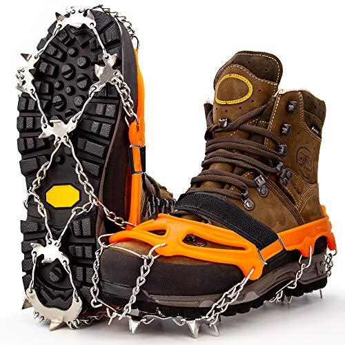 Alpen Bears Crampones ligeros premium 100% ergonómicos - Crampones de nieve antideslizantes de alta resistencia - Cadenas zapatillas nieve 19 puntas de acero crampones alpinismo cadenas zapatos hielo