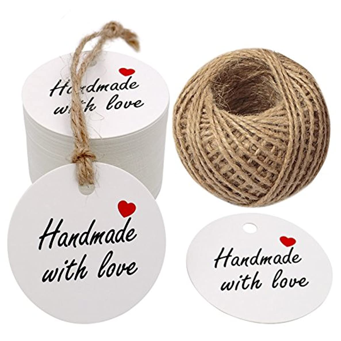 Handmade with Love Gift Tags, 2'' Round Tags 100PCS Brown Kraft Hang Tags with 100 Feet Natural Jute Twine Perfect for DIY&Craft, Wedding Party Favor and Birthday Party