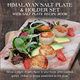 Charcoal Companion CC7167 Himalayan Salt Plate & Holder Set with Salt Plate Recipe Book, 8 x 12