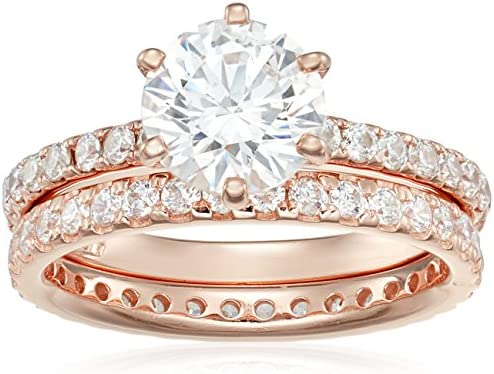 Rose Gold Plated Sterling Silver Round Ring Set made with Swarovski Zirconia 1 Carat Center product image