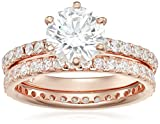 Rose-Gold Plated Sterling Silver Round Ring Set made with Swarovski Zirconia (1 Carat Center Stone), Size 7