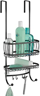 iDesign York Bathroom Over the Door Shower Caddy with Storage Baskets Shelves and Hooks for Shampoo, Conditioner, Soap, 10