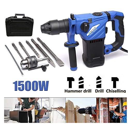 1500W Bohrhammer mit SDS Plus Aufnahme, 360 ° Dreh Antivibrationsgriff, 5 Joule Schlagstärke, Regelbarer Drehzahl, 3 Funktion Hammer/Bohren/Meißeln, 8 Stück Zubehör Bohrhammer Set