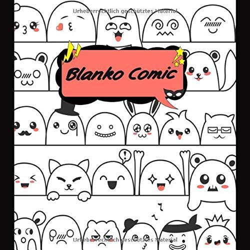 BLANKO COMIC: Comic Heft mit über 40 verschiedenen Action Vorlagen zum Zeichnen des eigenen Comics   Quadratisches Format 8,5