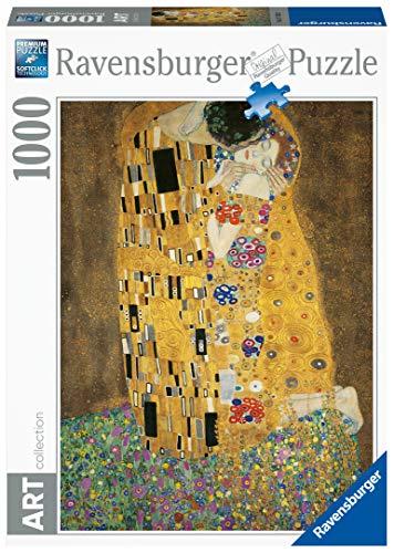 Ravensburger, Puzzle 1000 Pezzi, Arte, Collezione Dipinti, Quadri d'Autore, Pittori Famosi, Il bacio, Klimt