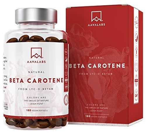 Betacaroteno [ 25 000 ui ] Vitamina A - 180 Cápsulas con Patentado Lyc-O-Beta - Con Aceite de Oliva Extra Virgen - Apoyo Natural Para el Bronceado, Ojos, Piel y Sistema Inmunológico