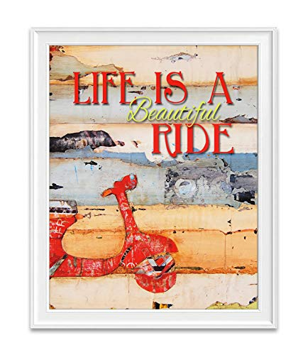 Life is A Beautiful Ride, Danny Phillips Art Print, Unframed, Red Vespa Motor Scooter Wall Decor, All Sizes