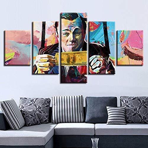 45Tdfc Lienzo de Pared Art Imagen para decoración del Wolf of Wall Street Money - Resumen 5 Piezas Pinturas Moderna Estirada y Enmarcado Arte Aceite
